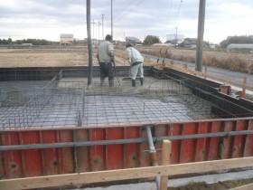 住宅基礎コンクリート打設